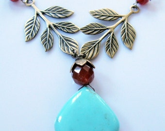 Woodlands queen luxe Grade A large turquoise briolette leaf and carnelian pod necklace tiara bridal jewelry ONLY ONE