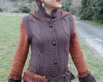 Brown and rust large hooded vest