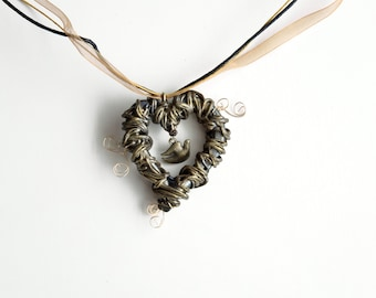 Dove in Heart Nest Pendant, Primitive Boho Jewelry, Black and Gold Color Polymer Clay and Wire Bird Charm Necklace, Love and Peace Theme