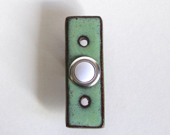Charming Rectangle Doorbell Plate Cover With Standard Button   Ultra Modern   1 Inch  Wide   Aqua