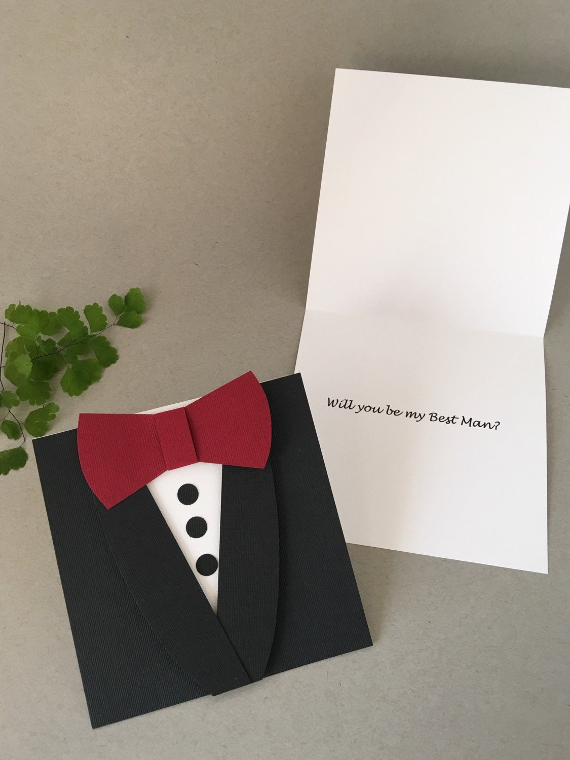 Groomsman Wedding Invitation Black Tuxedo Bow Tie card