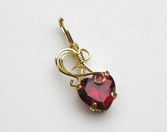 Ruby Heart Lab Grown Prong Set Swirls and Curls Gold Filled Wire Pendant