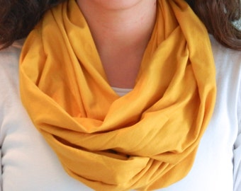 Mustard Yellow Jersey Knit Infinity Scarf