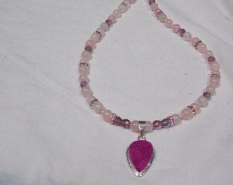 Hand made one of a kind Necklace Rose Quartz