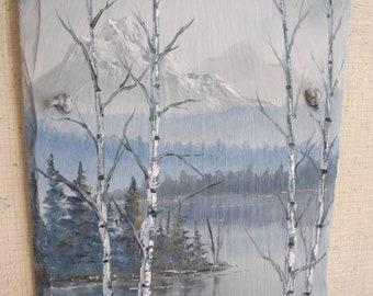 Mountain lake, in oils on slate