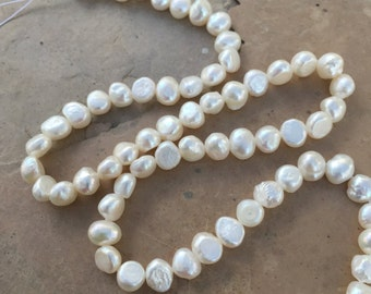 Flat Sided White Pearls, 6mm, 16 inch strand, irregular white pearls