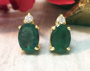 5x7MM Emerald and Diamond Stud | Prong Setting | Solid 14K Yellow Gold | Colored Stone Earrings | Fine Jewelry | Free Shipping