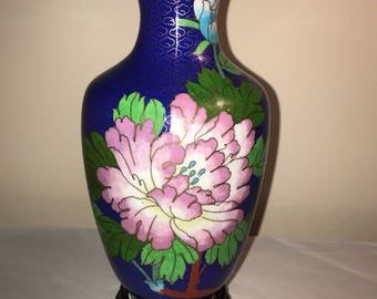 Cloisonne Vase with Cobalt Blue with Flowers