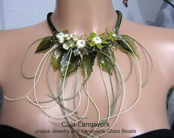 Necklace,handmade glass flowers, ivory necklace, flower chain, olive, ivory, lime green