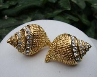 KJL Conch Shell Pierced Earrings - Kenneth J Lane Rhinestone Shell Earrings - Conch Shell Pierced Earrings - Designer Earrings