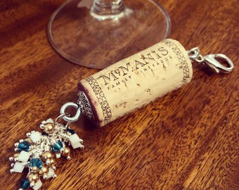 Snow Ball Bubbly color-burst cork floating keychain with Swarovski crystals