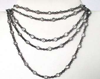85 -  Paste Antique  55-Inch Gunmetal Chain Necklace  With Pendant Clasp