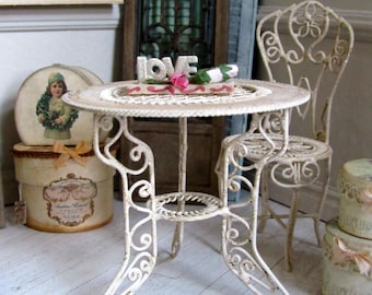 1:12th Scale ~ Miniature Romantic Cream Aged Garden table  in metal, for Conservatory, French or Vintage dollhouse,