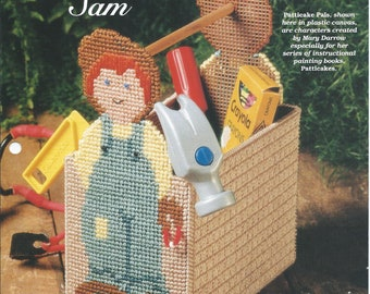 Plastic Canvas Patterns,Slingshot Sam,Patticake Pals,Tool Box For Boys,Tool Caddy,Book Caddy, Book Holder,Toy Basket,Book Basket