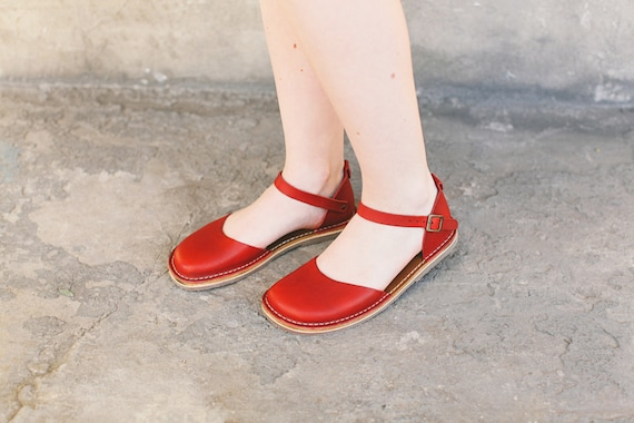 Women Sandals Toe Leather Sandals Shoes Summer Sandals Handmade Marry Shoes Leather Jane Sandals Women Summer Peep Red Shoes nSwFYqO5