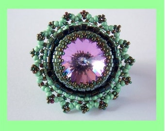 Tutorial ,Pattern,   Bead embroidery ,Beading pattern , Instructions only , Lace ring, Ring tutorial