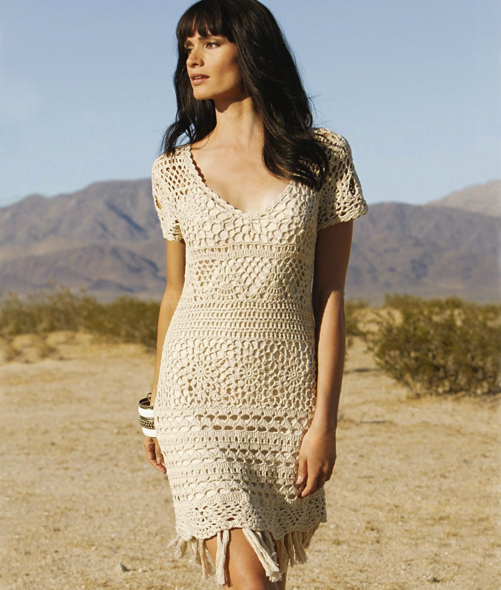 V-neck crochet dress PATTERN (sizes S-2XL), crochet TUTORIAL in ...