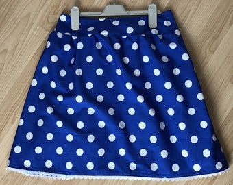 Vintage Minnie Mouse inspired skirt, in adult size, with elasticated waist in a blue and white polka dot style and optional lace edge