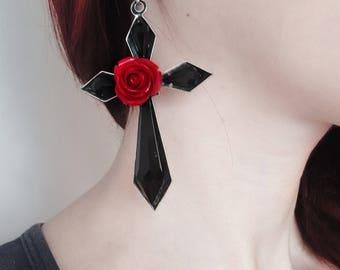 Statement Earrings Large Cross Earrings Long Earrings Black Earrings Statement Jewelry Dramatic Earrings Black Cross Red Rose