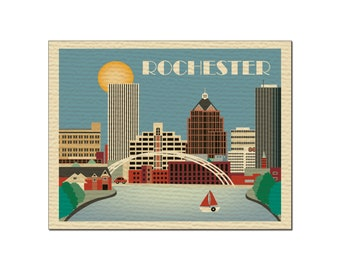 SALE Rochester card,  Rochester NY Skyline, Rochester horizontal, New York Skyline art, Rochester upstate new york note card style O-ROC