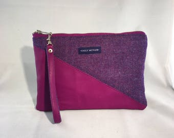 "Purple ""Sadie"" Clutch Bag or Purse in Wool and Leather."