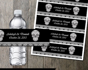Calaveras Sugar Skull and Fancy Lace Water Bottle Wraps Digital Printable