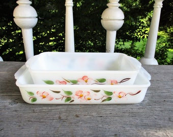 Vintage Fire King Peach Blossom Casserole Loaf Pan Set of 2 Anchor Hocking 1950's