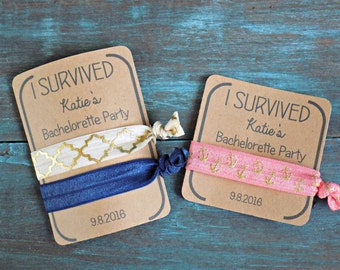 Custom Hair Tie Favors, Bachelorette Hair Tie Favors, I Survived, Bachelorette Party, Favors, Hair Ties
