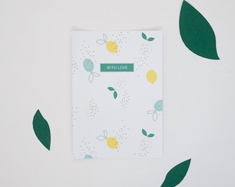 Lemons pattern Postcard - With Love - Stationery - Summer - Spring