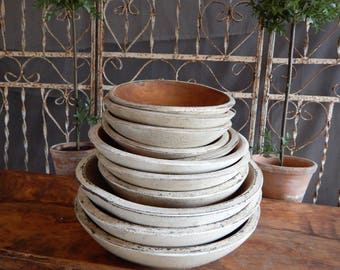 Painted Wooden Bowls / 12 inch White/ Farmhouse Style Bowls/Vintage Style Bowls/ Distressed Wooden Bowl/ Antique Reproduction Bowls