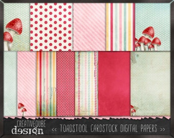 Digital paper, Digital Scrapbook paper pack - Instant download - 12 Digital Papers - Toadstool Shabby Chic