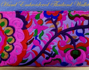 Thailand~Artisan HAND MADE & EMBROIDERED~ Purple Wallet~Lots of Compartments!