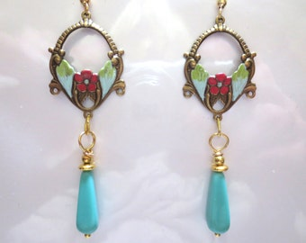 Art Nouveau earrings Victorian earrings vintage Art Deco earrings turquoise earrings long floral Edwardian earrings