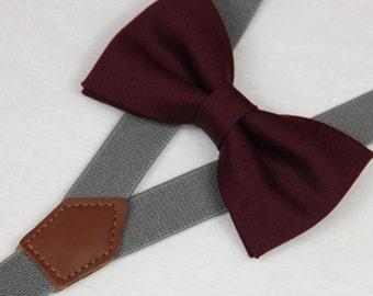 Wine red Burgundy bow ties, wedding bow tie, boys bow tie, grey suspenders bow tie,infant bowtie,toddler bowtie,mens bowtie,groomsmen bowtie