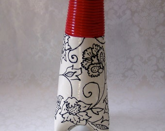 tall ceramic vase for your black & white and RED decor