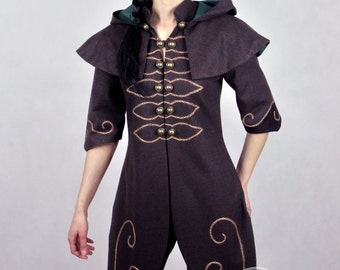 "Lady Bug - woman's version of ""Forest Ranger"" Fantasy Coat with hood - beautiful LARP coat made for order. For Elves or ranger"