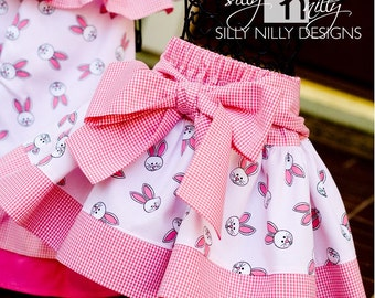 Ships same day // Size 18m, 3t, 4t, 5, 6 Adorable Easter Bunny Pink Gingham Bow Skirt