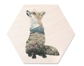 Fox Animal Double Exposure Plywood Print - Faunascapes by WhatWeDo