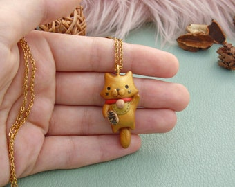 Gold Maneki Neko Cat Necklace   Polymer Clay Pendant  Japanese Lucky Cat Necklace   Animal Lover Gift