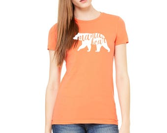 Mama bear Coral Color Womens Fitted T-Shirt Available in all sizes and colors