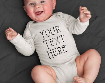 Your Text Here Custom Iron On Decal Customize All in One Infant Shirt Tee DIY Do It Yourself Baby Hoodie Top Sleeper Creeper Top Newborn