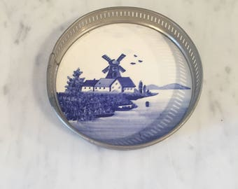 Delft Coaster, Blue White Delft Decor, Delft Wine Coaster, Holland Decor, Classic Style, Vintage Delft