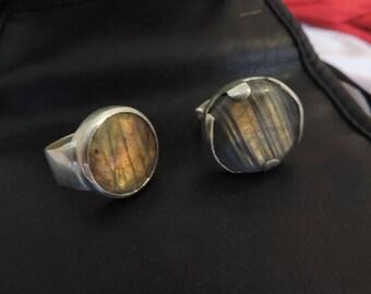 Labradorite on 925 sterling silver ring.