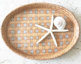 Vintage Oval Woven Bamboo Tray  • Rattan Basket Tray • Bohemian Decor