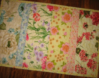 """Shabby Chic Quilted Table Topper, Pastel Floral Spring Garden, 13 x 21"""", Cotton Reversible Table Runner Summer Decor Coffee Dining End Table"""