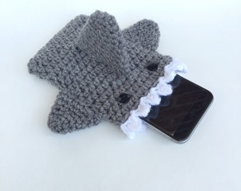 Shark Phone Case - Crochet Phone Case - Phone Cozy - iPhone 6s - Phone Case - Phone Sleeve - Phone Accessory