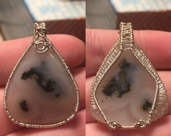 Interconnected Wonder (Dendritic Agate Cabochon Wrapped With Silver Wire Pendant)