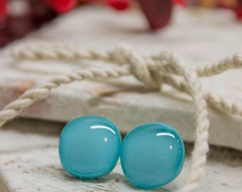Simple Elegant Fused Glass Teal Stud Earrings
