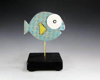 fish sculpture, ceramic fish, handmade fish sculpture, aqua fish, fish art, fish