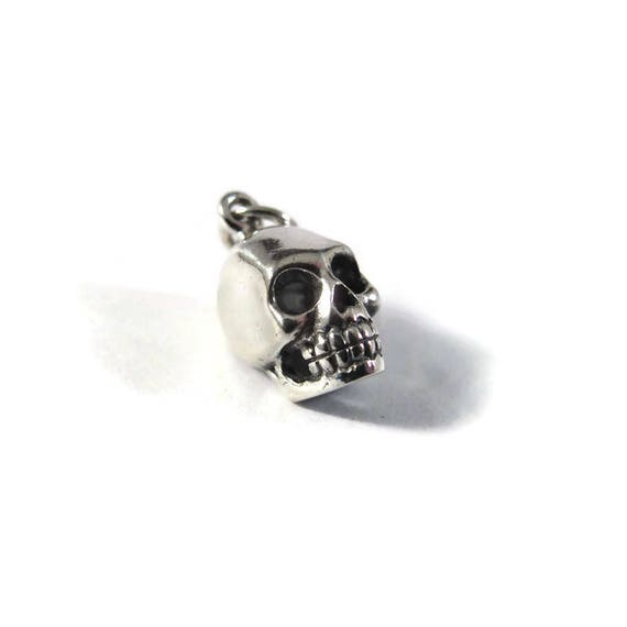 Silver Skull Charm, Skeleton Head, .925 Sterling Silver Charm for Making Jewelry, Halloween Pendant, Bracelet or Necklace (CH 578)
